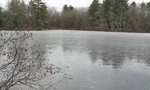Rocks bouncing off frozen pond creator bizarre sounds