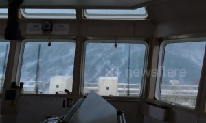 Rescue vessel records terrifyingly high waves in North Sea