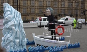 'Theresa May' effigy appears outside Parliament on a ship