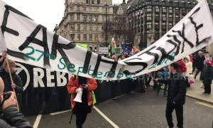Extinction Rebellion leads march outside Westminster during PM Brexit vote