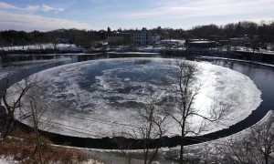 Stunning timelapse shows ice disk rotating in Westbrook, Maine