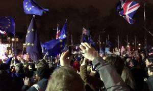 Pro-EU protesters react to May's Brexit Commons defeat