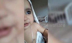 Chilly baby makes hilarious noise after coming out of shower