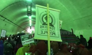 Los Angeles teachers' strike marches through downtown tunnel