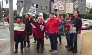 """We're not going to take it!"" LA teachers' strike continues into third day"