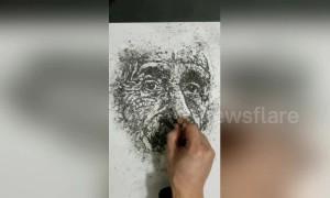 Art teacher uses cigarette ash to draw Albert Einstein
