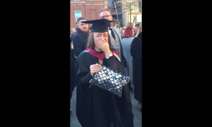 Woman surprised at graduation with marriage proposal and a puppy!
