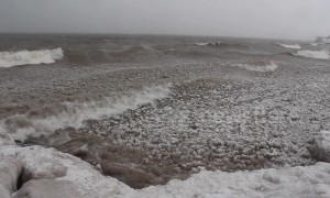 "Winter storm creates thousands of floating ""ice balls"""