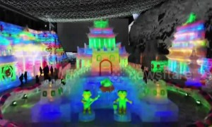 Incredible ice sculptures at Longqing Gorge Ice Lantern Festival
