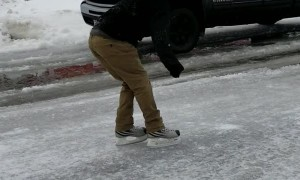 Road so Frozen You Can Skate on It