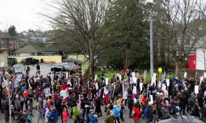 Hundreds marched through Seattle on Martin Luther King Jr. Day