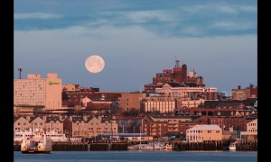 Time lapse shows moon setting over Portland, Maine