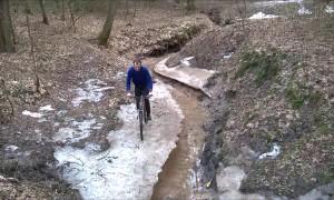 Biking Over Icy Water Fail