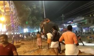 Panic and chaos as elephant taking part in religious ceremony runs loose in South India temple