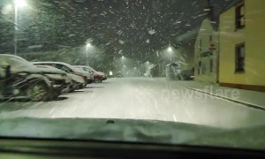 Driver navigates through harrowing blizzard conditions in Scottish Highlands