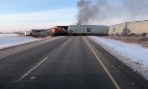 Train Derails and Catches Fire