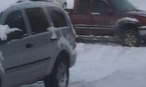 Tow Truck Stuck in Snow Saved by Truck