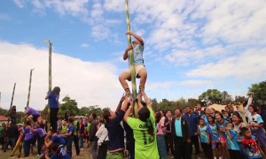 Bizarre bamboo pole climbing competition takes place in rural Thai village