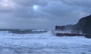Arctic blast batters Cornish coast with winds and huge waves