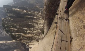 Walking along the World's most dangerous cliffside trail