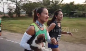 Marathon runner rescues lost puppy midway through race and carries it for 18 miles