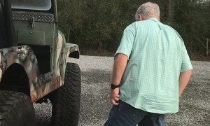 Boarding Jeep Takes Several Tries for Older Guys
