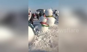 Locals build 2019 snowmen to welcome the upcoming Chinese New Year