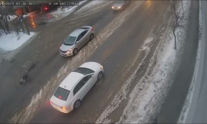 Slick Roads Causes Mayhem for Pedestrians