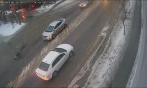Slick Roads Causes Mayhem for Pedestrians