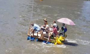 Guys Make Homemade Raft to Celebrate Australia Day