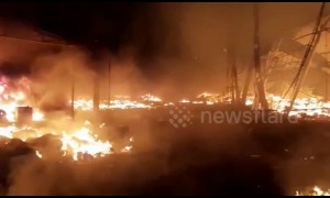 Massive fire burns down 200 stalls at Indian industrial exhibition, injuring nine