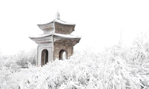 Snow turns Chinese mountain into enchanting winter landscape