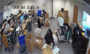 Workplace Fall Captured on Security Camera
