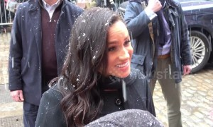 Prince Harry and Meghan Markle meet Bristol well-wishers in the snow