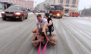 Magic carpet? Russians fined after surfing through streets on rug