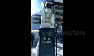 "Giant ""snow policeman"" built to warn pedestrians and vehicles"