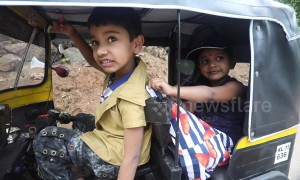 Indian man builds a fully functional mini auto-rickshaw for his children