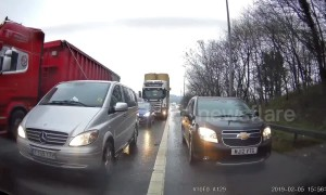 UK driver tries to cut ahead of traffic on hard shoulder and gets blocked