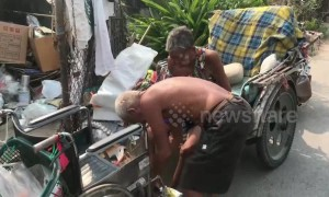 Doting husband, 69, takes his disabled wife, 80, to work every day on his modified motorcycle