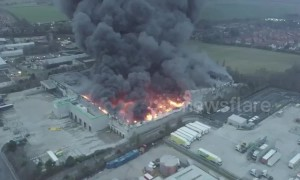 Drone footage shows extent of Ocado warehouse blaze in Andover