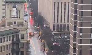 Bomb threat in Atlanta captured from apartment window