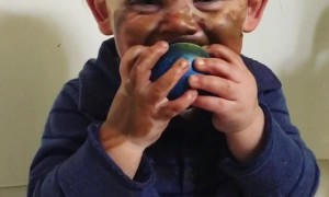 Baby Boy Makes a Mess of Mom's Makeup