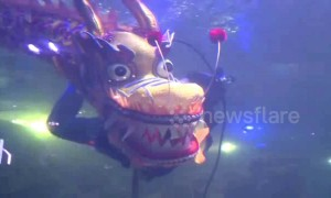 Underwater dragon dance at Chinese aquarium to welcome Lunar New Year