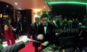 Eddie Redmayne and Tom Hiddleston leave BAFTA Film Gala in London