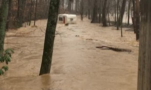 Camper Gets Swept Away By Floodwaters