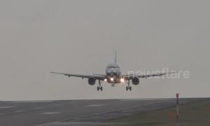 Bumpy landing! Storm Erik hits Leeds Bradford Airport forcing BA plane to abort landing