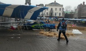 All the Top Gear, no idea! Freddie Flintoff smashes up market stall in UK town