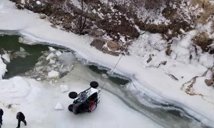 Pulling an ATV Out of a Frozen River with Crane