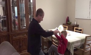 Dad and Son do Cool Circus Trick!
