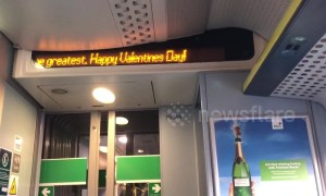 Cute Valentine's Day message on the train